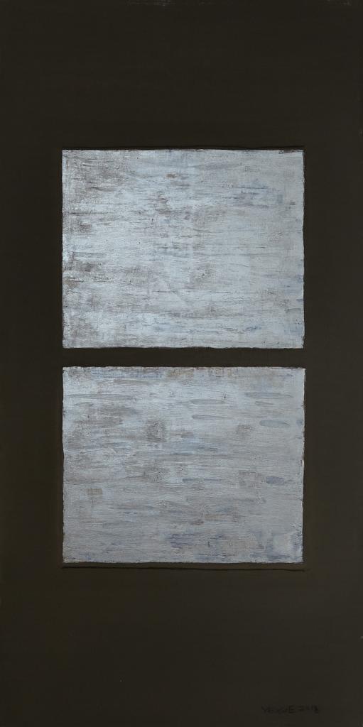 Clay, oil, acrylic and pencil on canvas. 23 x 180 cm