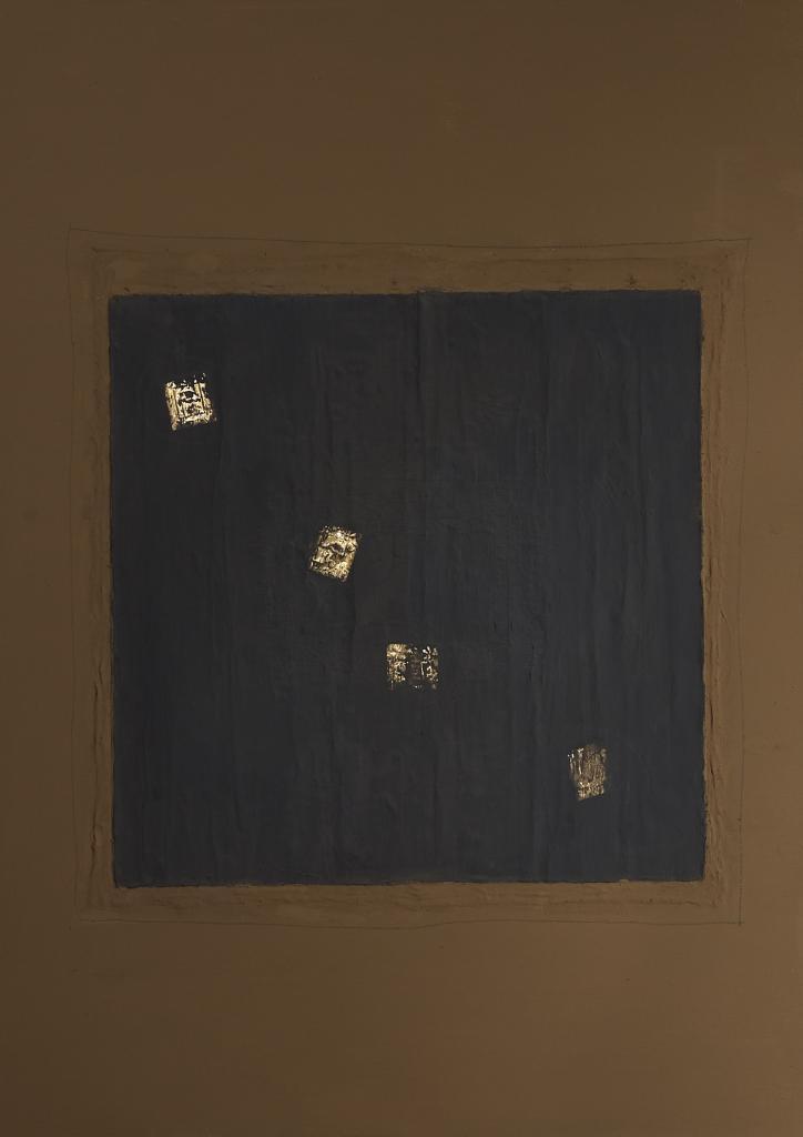 Clay, oil, acrylic, gold leaf and pencil on canvas. 65 x 130 cm
