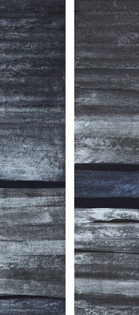Chinese ink and watercolour, acrylic, on paper. 33cm x 136cm.